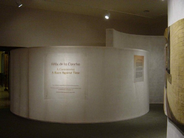 The fabric was stretched over 2x4 stud frames to make curved walls which directed museum traffic into the exhibit.  The walls are translucent--allowing light transmission, and allowing patrons to see movement, while creating a private exhibit space.