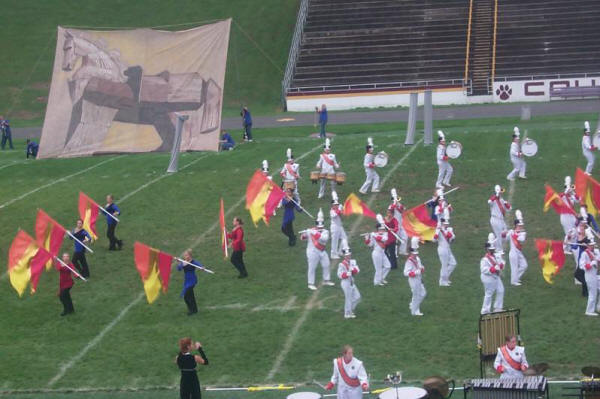 Band Field Show Ideas: Printed Marching Band Scrim Example.